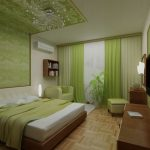 Красота интерьера зеленой спальни