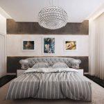 Круглая люстра в интерьере спальни