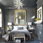 Необычная серая спальня