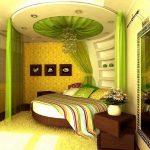 Необычный дизайн спальни в зеленом цвете