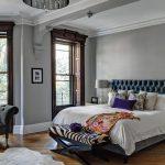 Оригинальный стиль серой спальни