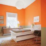 Персиковый оранжевый цвет для спальни