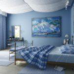 Синяя спальня обладает красотой и стилем