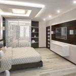 Современная спальня, выполненная в спальне хай-тек