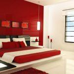 Современный дизайн яркой красной спальни