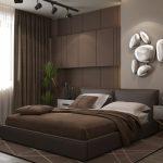 Современный интерьер спальни в коричневом стиле