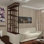 Созданное зонирование в спальне