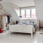 Спальня, оформленная в красивом в скандинавском стиле