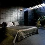 Спальня в черном тоне для стиля лофт