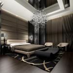Стильная спальня в черном колере