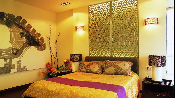 Стильная спальня выдержанная в желтом цвете