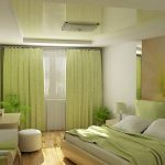 Светлая зеленая спальня в доме
