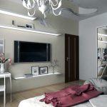 Светлые полки в спальне