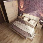 Светлый ламинат, уложенный в спальне