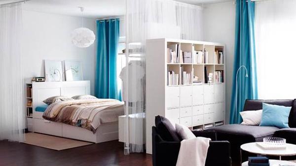 Удачное зонирование спальни