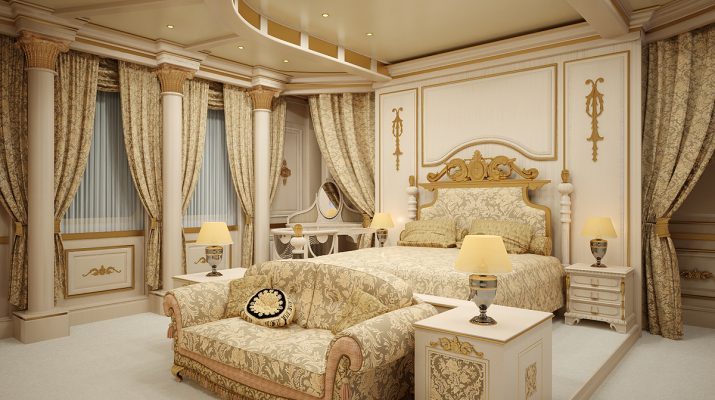 Утонченный стиль ренессанс, оформленный в спальне
