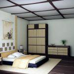Уютная спальня, созданная в красивом японском стиле