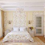Уютная светлая спальня в деревенском стиле кантри
