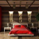 Восточный японский стиль интерьера для спальни