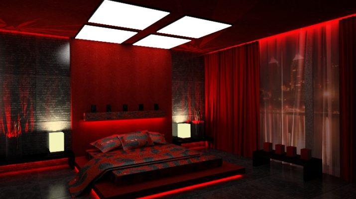 Яркая красная спальня