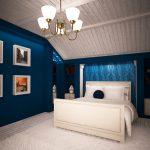 Яркий синий цвет для оформления спальни