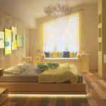 Желтая яркая спальня в доме
