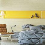 Желтые цвета в дизайне спальни