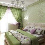 Зеленая спальня подойдет для энергичных людей
