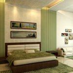 Зеленый цвет в интерьере спальни