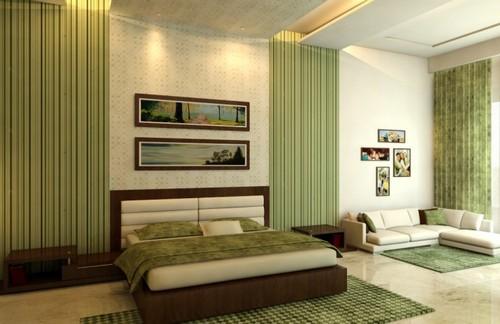 Шторы для спальни салатовых оттенков фото