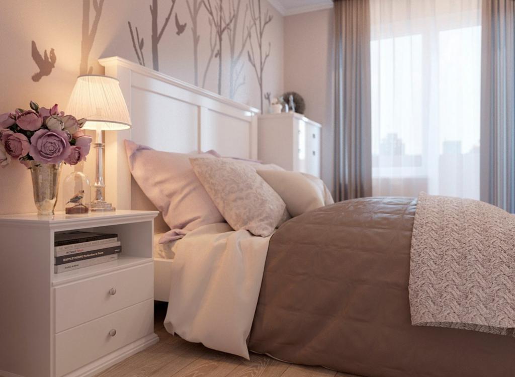 Дизайн спальни нежный