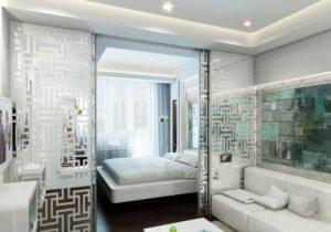Комната гостиная-спальня - зонирование помещения
