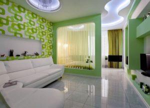 гостиная спальня в зеленых тонах