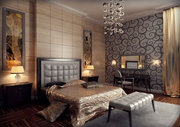Красивое сочетание черного и бежевого цветов в интерьере спальне создают обои двух видов