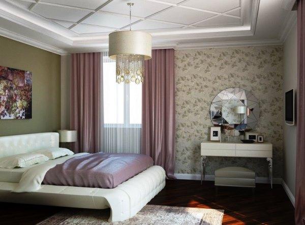 Поклеенные обои двух видов создают приятный интерьер в спальне