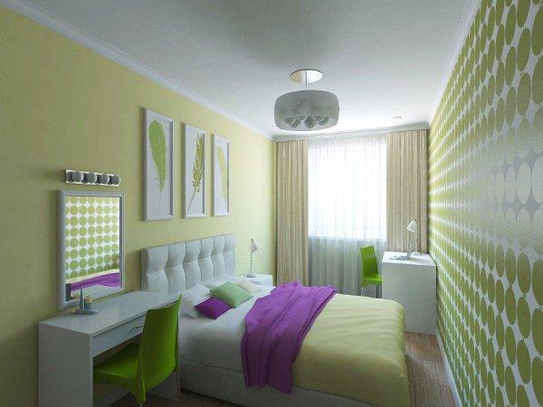 Два вида обоев постельных тонов в интерьере спальни идеально дополняют друг-друга