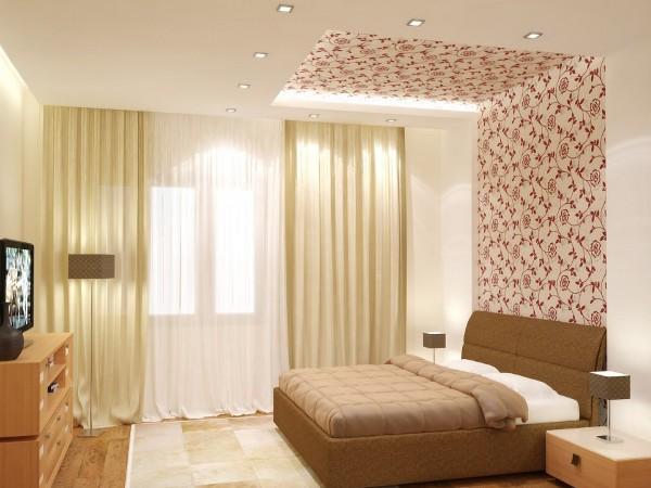 Разделить интерьер спальню на зону отдыха и работы с помощью обоев двух видов