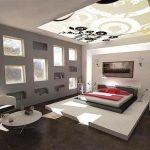 Натяжной потолок в спальню, фото готовых решений