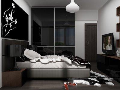 Чёрная глянцевая мебель для интерьера спальни