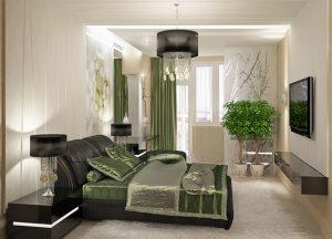 Спальня с кроватью и прикроватными тумбами