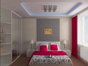Спальня с кроватью и шкафом купе