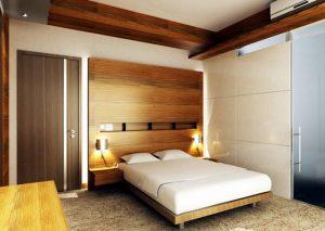Спальня с элементами деревянного оформления