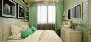 Спальня с зеленым и бежевым цветом