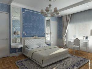 Дизайн маленькой спальни в голубой палитре