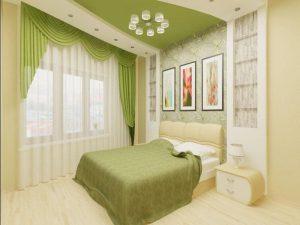 Акцент на зеленый цвет в интерьере спальни