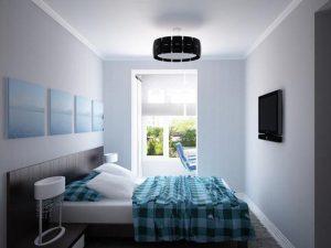 Спальня с бирюзовыми деталями
