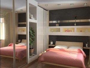 Интерьер спальни с зеркальным шкафом