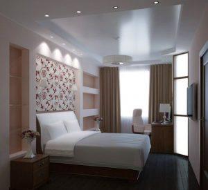 Сочетание белого с бежевым в интерьере спальни