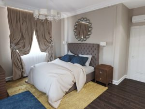 Однотонные материалы в оформлении спальни