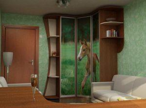 угловой шкаф с изогутой формой торцов